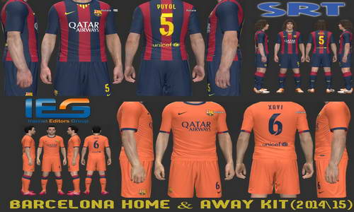 PES 2014 Barcelona Home&Away Kits 14-15 by SRT Ketuban Jiwa