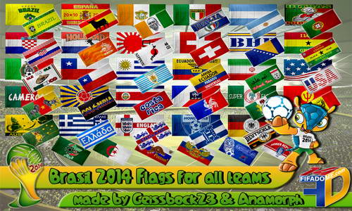 FIFA 14 World Cup 2014 Flags All Teams by Geissbock23&Anamorph Ketuban Jiwa