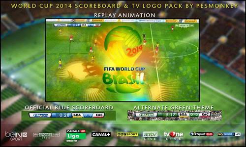 PES 2014 World Cup Brazil Scoreboard&TV Logopack by Pesmonkey