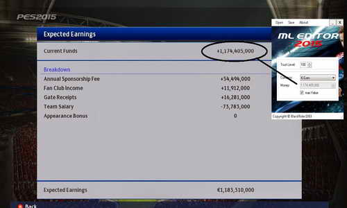 PES 2015 PC ML Money Editor Tools by BlackRider1993 Ketuban Jiwa