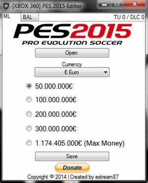 PES 2015 XBOX360 Save Editor 1.0 by extream87