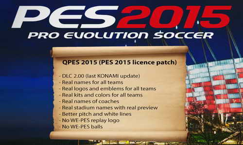 PES 2015 QPES Licence Patch Support Update DLC 2.0&1.02