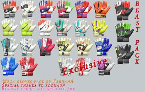 PES 2015 Goalkeeper Gloves Mega Pack by FarhanA