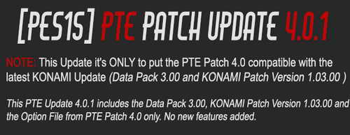 PES 2015 PTE Patch Update 4.0.1 Includes DLC 3.0+1.03 Ketuban Jiwa