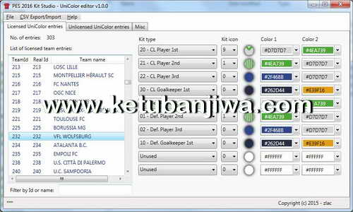 PES 2016 Kit Studio UniColor Editor Tool v1.0.0 by Zlac Ketuban Jiwa