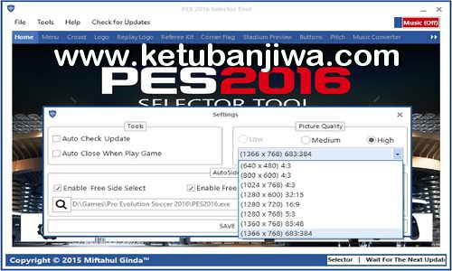 PES 2016 Selector Tool v1.0 by Ginda01 Ketuban Jiwa