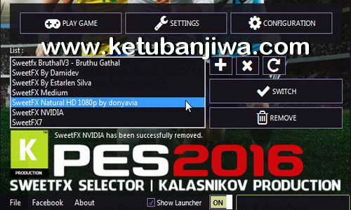 PES 2016 SweetFX Selector Tool v4.0.0 By Kalasnikov Production Ketuban Jiwa