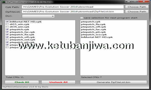PES 2016 PC DpFileList Generator Tool v1.6 + DLC 1.0 by Baris Ketuban Jiwa