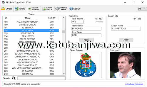 PES 2016 PC PES Edit Tool v1.0.0 BETA by Tuga Vicio Ketubanjiwa