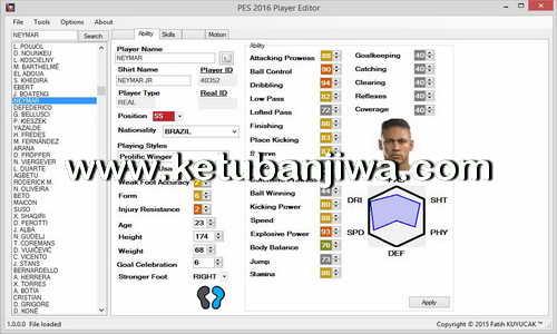 PES 2016 PC Player Editor v1.0.2 Tool by Fatih Kuyucak Ketuban Jiwa