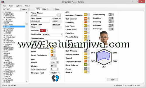 PES 2016 PC Player Editor 1.0.3 Tool by Fatih Kuyucak Ketuban Jiwa