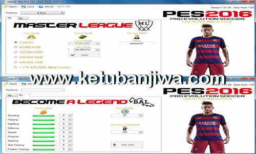 PES 2016 PC and XBOX 360 Master League + Become A Legend Editor Tool v1.2 by Extream87 Ketuban Jiwa