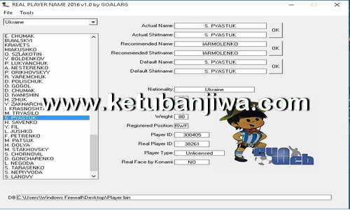 PES 2016 Real Player Name v2.0 Tool by GOALARG Ketuban Jiwa