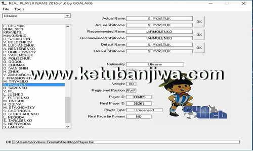 PES 2016 Real Player Name v4.0 Tool by GOALARG Ketuban Jiwa
