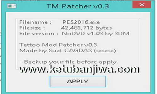 PES 2016 Tattoo Mod Patcher v0.3 Final Version by Sxsxsx Ketuban Jiwa