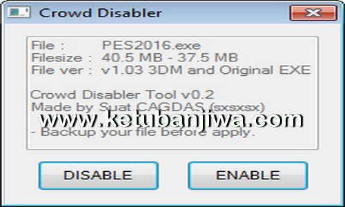 PES 2016 Crowd Disabler v0.2 by Sxsxsx Ketuban jiwa