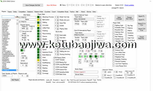 PES 2016 Dino Editor 2.8 Tool For PC - PS3 - XBOX 360 by Smeagol75 Ketuban Jiwa
