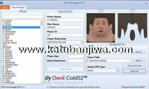 PES 2016 Facemanager Tool BETA by Devil Cold52 Ketuban Jiwa