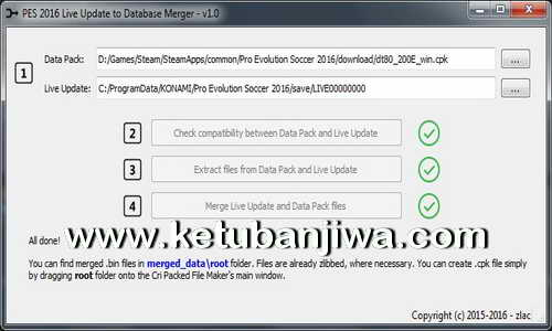 PES 2016 Live Update To Database Merger Tool 1.0 by Zlac Ketuban Jiwa