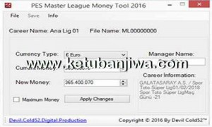 PES Master League Money Tool v16.1.0 by Devil Cold52