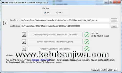 PES 2016 PC - PS3 Live Update Merger Tool 1.2 by Zlac Ketuban Jiwa