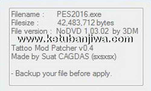 PES 2016 TM Patcher Tool 0.4 by Sxsxsx Ketuban Jiwa