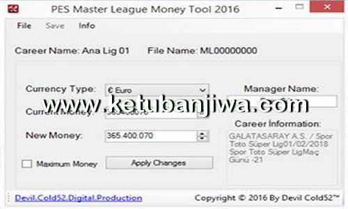 PES Master League - ML Money Tool v16.1.0 Fix Update 15-02-2016 by Devil Cold52 Ketuban Jiwa