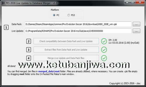 PES 2016 PC - PS3 Live Update Merger Tool v1.3 by Zlac Ketuban Jiwa