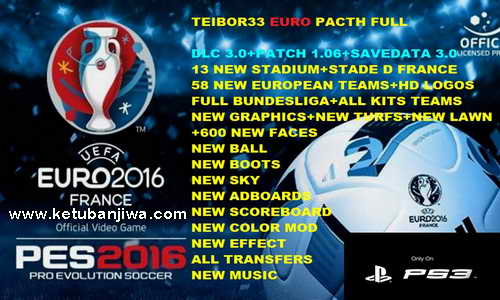 PES 2016 PS3 CFW - ODE Full EURO Patch DLC 3.0 by TEIBOR33 Ketuban Jiwa