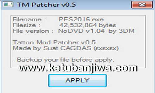 PES 2016 Tattoo aMod Patcher v0.5 Patch 1.04 by Sxsxsx Ketuban Jiwa