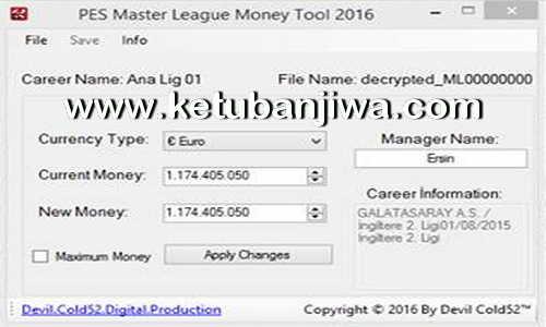 PES 2016 Master League - ML Money Tool 2.0 by Devil Cold52 Ketuban jiwa