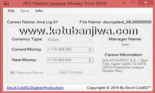 PES 2016 Master League ML Money Tool 3.0 Final by Devil Cold52 Ketuban Jiwa