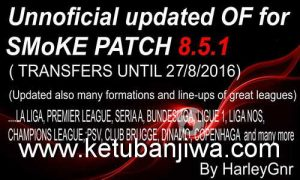 PES 2016 Smoke 8.5.1 Option File Update 27/08/2016