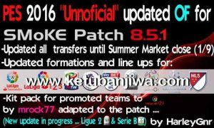 PES 2016 SMoKE Patch 8.5.1 Full Transfer Update 16/17