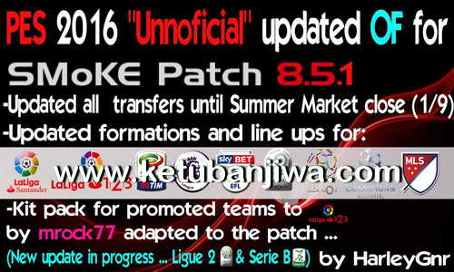 PES 2016 Unofficial Option File Full Transfer Update Season 2016-2017 For SMoKE Patch 8.5.1 by HarleyGnr Ketuban Jiwa