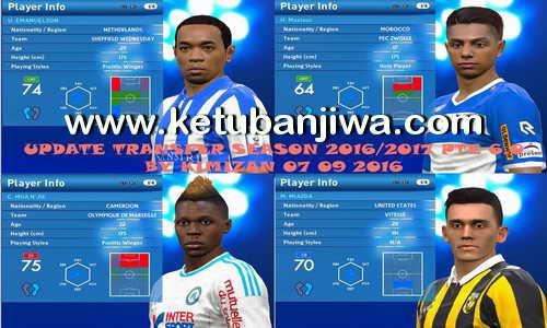 PES 2016 Update Transfer Season 2016-2017 For PTE Patch 6.0 by Kimizan Ketuban Jiwa