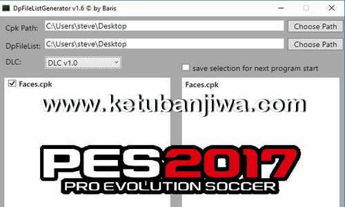 PES 2017 DpFileListGenerator Tool 1.6 by Baris Ketuban Jiwa