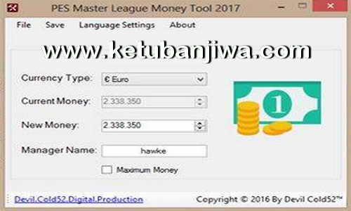 PES 2017 Master League ML Money Tool 1.00 by Devil Cold52 Ketuban Jiwa