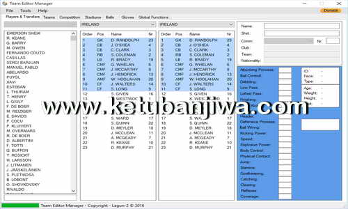 PES 2017 Team Editor Manager Tool Version 2.3 by Lagun-2 Ketuban Jiwa