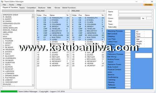 PES 2017 Team Editor Manager Tool Version 2.3 by Lagun-2 Ketuban Jiwa