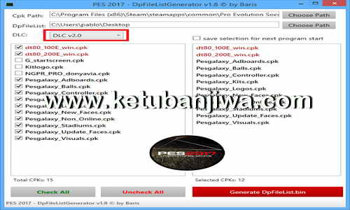 PES 2017 DpFileList Generator v1.8 For DLC 2.0 by Baris Ketuban Jiwa