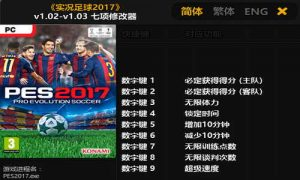 PES 2017 Trainer Plus 7 Tool 1.02 – 1.03 by FLiNG