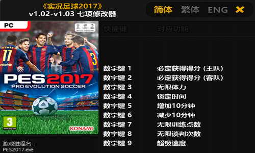 PES 2017 Trainer Plus 7 Tool 1.02 - 1.03 by FLiNG