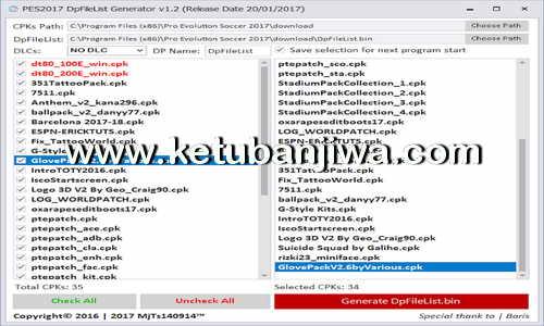 PES 2017 DpFileList Generator Tool v1.2 + 100 Cpk File by MjTs140914 Ketuban Jiwa