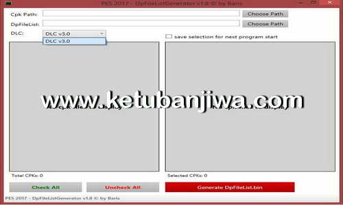 PES 2017 DpFileList DLC 3.0 For 64 CPK Files by MjTs140914 Ketuban Jiwa
