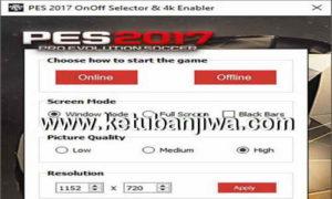 PES 2017 On Off Selector + 4k Enabler v2.3