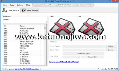 PES 2017 Face Manager v1.0 Tools by Devil Cold52 Ketuban Jiwa