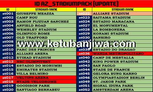 PES 2017 AZ Stadium Pack Update 11/08/2017 by AZ Mods Ketuban Jiwa