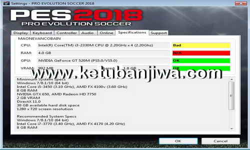 Download PES 2018 Settings.exe For Check PC Specifications Ketuban Jiwa