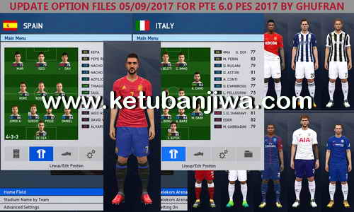 PES 2017 PTE Patch 6.0 Option File Update + Fix 05 September 2017 by Ghufran Ketuban Jiwa
